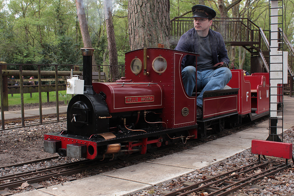 Miniature train and driver